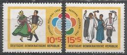 German Democratic Republic 1962. Scott #B90-1 (MNH) Folk Dance And Youths Of Three Nations Parading ** - [6] République Démocratique