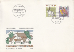 COMMON STAMPS ISSUE, RABBIT, OWLS, COVER FDC, 1991, SWITZERLAND
