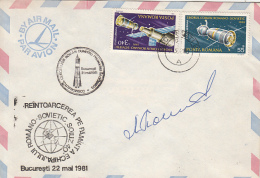 SPACE, COSMOS, ROMANIAN-RUSSIAN SPACE MISIION, SPACE SHUTTLE, SPECIAL POSTMARK AND STAMPS ON SIGNED COVER, 1981, ROMANIA