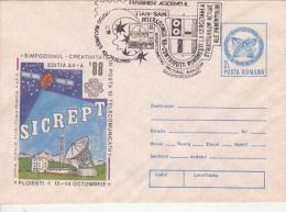 SPACE, COSMOS, INTERKOSMOS PROGRAM, COVER STATIONERY, ENTIER POSTAL, 1988, ROMANIA