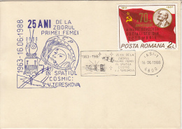 SPACE, COSMOS, VALENTINA TERESHKOVA FIRST WOMAN IN SPACE, SPECIAL COVER, 1988, ROMANIA