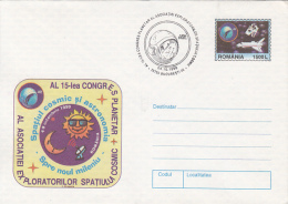 SPACE, COSMOS, SPACE AND ASTRONOMY WORLD CONGRESS, COVER STATIONERY, ENTIER POSTAL, 1999, ROMANIA