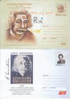 ALBERT EINSTEIN, SCIENTIST, COVER STATIONERY, ENTIER POSTAL, 2X, 2004-2005, ROMANIA