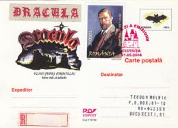 LEGENDS, DRACULA, VLAD THE IMPALER, CASTLES, REGISTERED  PC STATIONERY, ENTIER POSTAL, OBLIT FDC, 2004, ROMANIA