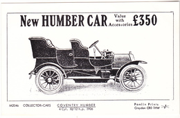 Postcard - New Humber Car - £350 With Accessories New Unused - Postcards