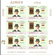 Ajman 1969 Mi# 463-465 B Kleinbogen (3) ** MNH - Imperf. - Overprinted - Summer Olympics 1972, Munich