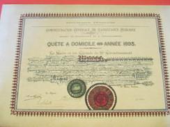 Diplôme / Médaille D'Argent/Assistance Publique/Paris/3éme Arrondissement/Le Maire/Quête à Domicile/MASSE/1893  DIP155 - Diplome Und Schulzeugnisse