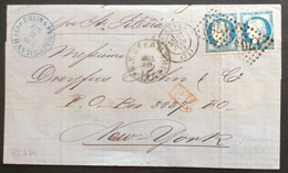 PL 434 Seine Inférieure GC 1769 Le Havre Vers NEW-YORK  Paire N°60 27/6/1873 - Postmark Collection (Covers)