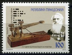 MACEDONIA 2012 The 175th Anniversary Of The Invension Of The Telegraph By Samuel Morse, 1791-1872 MMH