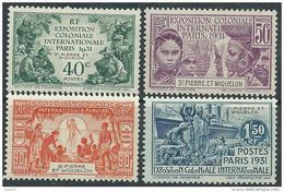 Saint Pierre Et Miquelon N° 132 / 35 X Exposition Coloniale De Paris, Les 4 Valeurs Trace De Charnière Sinon TB