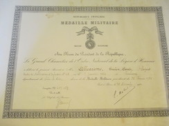 Diplôme/Médaille Militaire/ Grand Chancelier De L'Ordre National De La Légion D'Honneur/Sergent ALLEAUME//1936  DIP157 - Diplomi E Pagelle