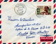Congo (Brazaville), Nice Cover From MINDOULI, 12.08.1961, Yvert # 135, VFU - Congo - Brazzaville