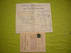 Facture + Lettre Pub épicerie En Gros Marion Alais 1918 - Levensmiddelen