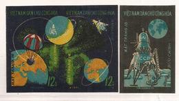 Mission Spatiale Robotique Sur La Lune De Luna 16 (1970) Série 3 Timbres Neufs ** NON DENTELÉS,émis Par Le Vietcong