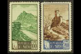 """1949-50 100L And 200L """"Paesaggi"""" Views, Perf 14 X 13, Sassone S. 67, Never Hinged Mint. (2 Stamps) For More..."""