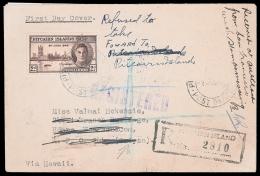 1946 PITCAIRN - HAWAII - SAN FRANCISCO - SAIPAN - NZ - PITCAIRN COVER! 1946 (2 Dec) Victory First Day Cover...