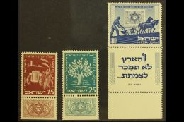1951 Jewish National Fund Set With Tabs, Bale 52/54, Mint Never Hinged. (3) For More Images, Please Visit...