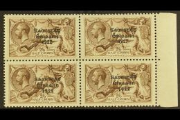 """1925 2s 6d Chocolate Brown, SG 83, Marginal Block Of 4 Showing The Variety """"Wide And Narrow Date"""" As 2 Vertical..."""