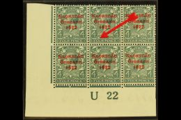 """1922-23 4d Grey-green With Thom Three Line Overprint In Red, SG 58, With """"BREAK OVER FOUR"""" Variety, Plate..."""