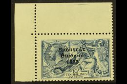 """1922-23 10s Dull Grey-blue Seahorses With """"Saorstat"""" Overprint (SG 66) With MAJOR RE-ENTRY (position R. 1/1)..."""