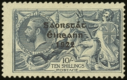 1922-23 10s Dull Grey Blue Seahorse SG 66, Showing Row 1/2 MAJOR RETOUCH Hib. T61b, Fine Mint, Centered To Right....