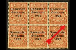 """1922-23 1½d Red-brown With Thom Three Line Overprint, SG 54, With """"PENCF"""" Corrected Variety, From Plate 12b..."""
