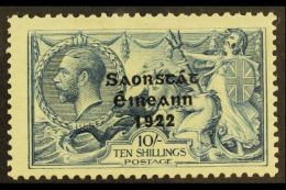 1922 THOM 10s Dull Grey Blue Seahorse With Wide Date, Showing RETOUCH TO 10/- (8/1), SG 66, Hib. T61ba, Very Fine...