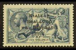 1922 RARE VARIETY. 10s Dull Grey-blue Dollard OVERPRINT DOUBLE, ONE ALBINO Variety (Hibernian T14h, SG 21var),...