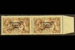 "1922 2s 6d Pale Brown, 3 Line Thom Ovpt, Variety ""SACRSTAT"" In Marginal Pair With Normal, Hib. T59/59j, (SG 64..."
