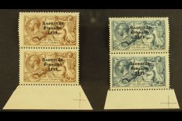 1922 2s 6d Chocolate And 10s Dull Grey Blue, 3 Line Thom Ovpt, (SG 64, 66) Both In Vertical Marginal Pairs With...