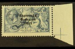 """1922 10s Dull Grey Blue, 3 Line Thom Ovpt, Showing The Variety """"SACRSTAT"""", Hib T61jf  (SG 66 Var), Superb Marginal..."""