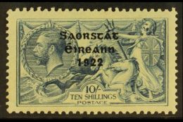 1922 - 3 10s Dull Grey - Blue,  Free State Thom Ovpt, SG 66, Fine Mint. Well Centered With Lightly Toned Gum.  For...