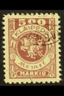 LITHUANIAN OCCUPATION 1923 (12 April) 500m Purple (Mi 149, SG 26) Very Fine Cds Used. For More Images, Please...