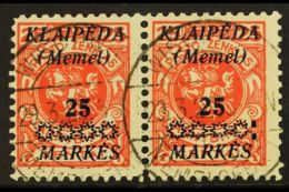 1923 25m On 25c Vermilion Overprint (Michel 137, SG 14), Fine Cds Used Horiz PAIR, The Right Stamp With 'Colon...