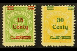 1923 15c On 50m Yellow-green & 30c On 20m Yellow Both With Broken Bar PLATE FLAWS (position 93), Michel 210...