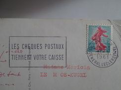 CARTE POSTALE & TIMBRE POSTMARK CACHET LA POSTE 1961 POSTCARD FRANCE CHEQUES POSTAUX TAPISSERIE MOUTONS SHEEP - Advertising