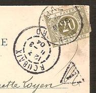 20 Cts TAXE Belgique Sur Carte Postale De ROUBAIX ( Nord) L'Eglise Saint-Martin ( Belle Oblitération Du 12;03.1904