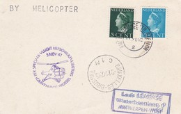 Carte BY HELICOPTER  Pays Bas Bruxelles Antwerpen 1947