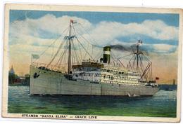 Tarjeta Postal  Steamer Santa Elisa Circulada Balboa Paquebot Panama - Panamá