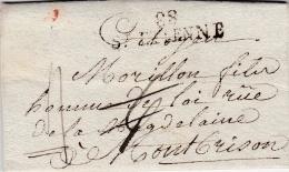 FRANCE  :  Marque Linéaire  88 St Etienne  40 X 11  Taxée 6 Rayée   Pour Taxe 4 - France