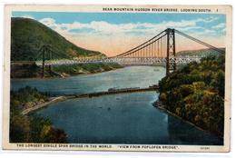Tarjeta Postal  Bear Mountain Hudson River Bridge . Looking South. - Hudson River