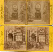 2 PHOTOS   STEREOSCOPIQUES -   CATHEDRALE De ROUEN - Tombeau De Louis De Brézé - Vue Intérieure Prise Du Choeur - Photos Stéréoscopiques