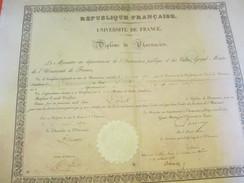 Diplôme De Pharmacien/R F/Université De France/Ministre De L'Instruction Publique Et Des Cultes/ LOCK/1850        DIP160 - Diplomi E Pagelle