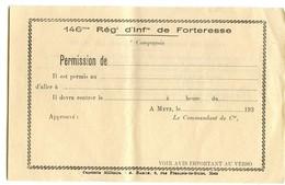 Permission Du 146° Rgt D'infanterie De Forteresse (ligne Maginot) 39-45 - 1939-45