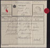 TELEGRAPH TELEGRAM 1916 Hungary Serbia Vojvodina - Futog Ofutak - Close Label Vignette / Krasnoyarsk Russia WW1 - Télégraphes