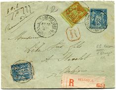 FRANCE ENTIER POSTAL RECOMMANDE AVEC AFFRANCHISSEMENT COMPLEMENTAIRE DEPART NANTES 6 JUIL 94 POUR LA BELGIQUE  (RR) - Postal Stamped Stationery