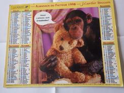 Almanach Du Facteur., J. Cartier Bresson . Chimpanzé Et Ourson En Peluche. Dép 06 - Calendriers