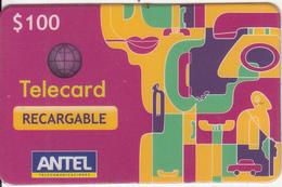 URUGUAY - Antel Magnetic Recharge Prepaid Card $100, Used