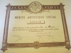 Diplôme  D'Officier Du Mérite Artistique Social /Paris / Louis ELIE Dit ROCS/ 1959       DIP161 - Diplomi E Pagelle