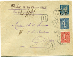 FRANCE ENTIER POSTAL RECOMMANDE AVEC AFFRANCHISSEMENT COMPLEMENTAIRE DEPART ORAN 12-1-07 POUR ALGER - Postal Stamped Stationery